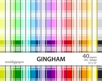 Rainbow Gingham Digital Paper, Rainbow Gingham Background, Colorful Scrapbook Paper, Colorful Gingham, commercial use