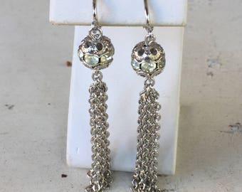 Sarah Coventry Clip Earrings Dangle Chain and Rhinestone