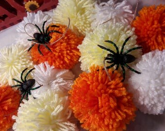 Candy Corn Spider Pom Pom Garland| Halloween| Yarn| Party|  Home Decor| Holiday|