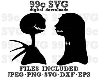 Jack and Sally Disney SVG DXF Png Vector Cut File Cricut Design Silhouette Cameo Vinyl Decal Party Stencil Template Heat Transfer Iron