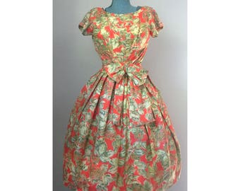Vintage 50s Floral Pab Short Sleeve Dress with Bow Accent / XXS-XS
