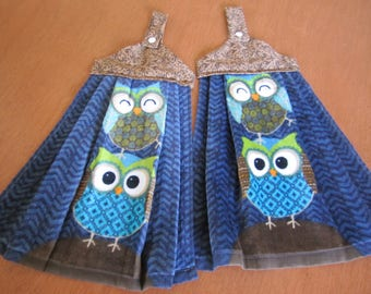 Hanging Dish Towels - Navy Owls