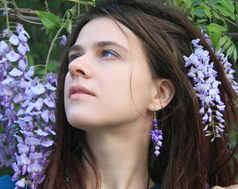 Wisteria earrings, Bohemian style, Long earrings, Bridal jewelry, Purple earrings,