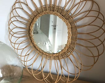 48 cm rattan Sun mirror