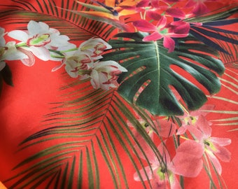 Tropical print stretchy easy wash material