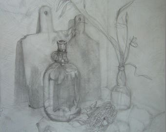 Village Still Life//pencil drawing//drawing from observation//home decor//countryside  image//decoration for house