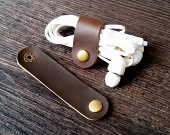 Earphone case, leather cord organizer, cable holder, cable wrap, cable organizer, wire holder, iphone cord holder, cable tidy, mens gift