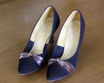 1950's Bombshell Brown Suede High Heel Shoes Socialites