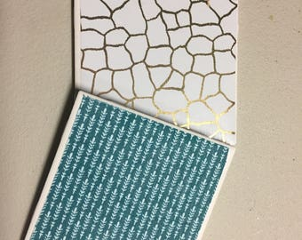 Set of 4 Gold and Blue Coasters