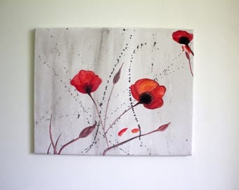 Poppies watercolor - Painting on canvas - 30x40cm