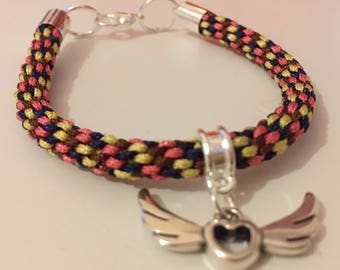 """""""Winged heart"""" Kumihimo bracelet braided nylon"""
