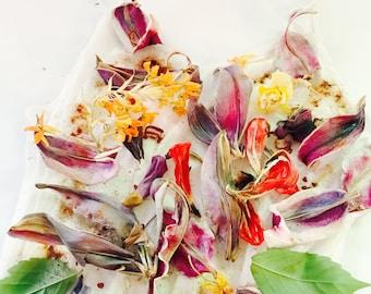 Silk slip chemise flower natural dye organic lingerie summer dress charmeuse beige yellow lilac