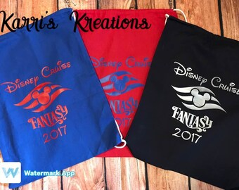 Disney Cruise, Disney Fish Extender, Cotton Drawstring Bags