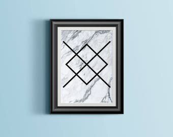 Marble Geometric Printable - Art Print, Home Decor, Modern Wall Art, Apartment Poster