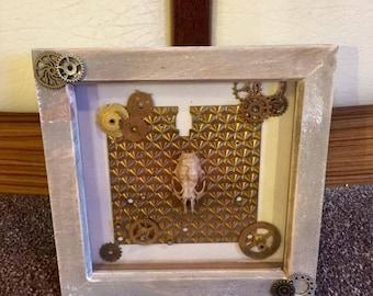 Taxidermy Steampunk rat skull