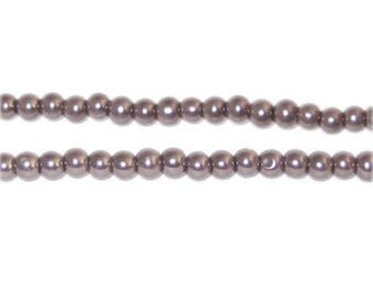 4mm Round Cocoa Glass Pearl Bead, approx. 113 beads