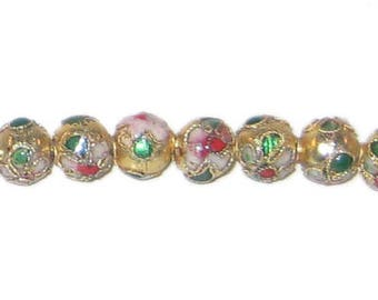 8mm Gold Round Cloisonne Bead, 7 beads