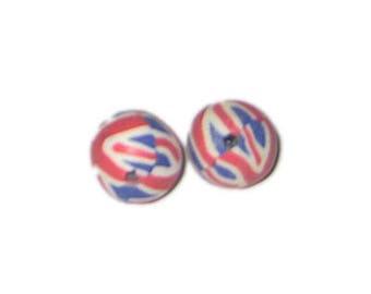 16mm Union Jack Polymer Clay Bead, 10 beads