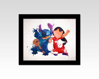 Lilo and Stitch inspired Lilo and Stitch dancing watercolour effect print