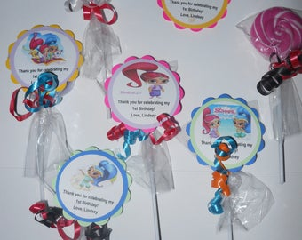 "24 Shimmer and Shine party favors 2"" hard candy swirl lollipops Personalized 2nd 3rd 4th 5th 6th 7th 8th 9th Birthday favors"