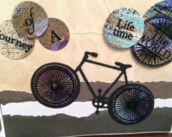Bicycle theme card, bike enthusiast, adventurer, 3 D, hand painted die cut elements, masculine colors, card for him, birthday, encouragement