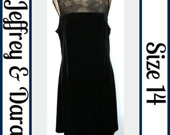 Sz 14 Silky Black Velvet Dress