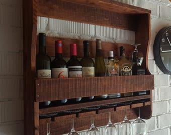 Wall mounted Vine wood rack  Vintage style