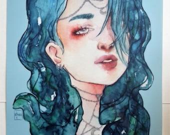 Moon Godess Portrait A4 Print