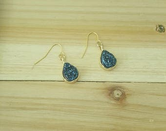 Blue natural druzy agate earrings