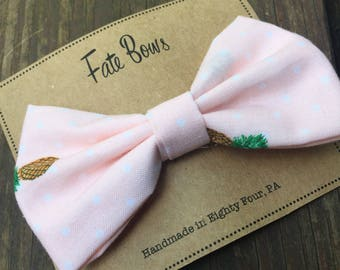 Light peach with pineapples and polka dots fabric hair bow