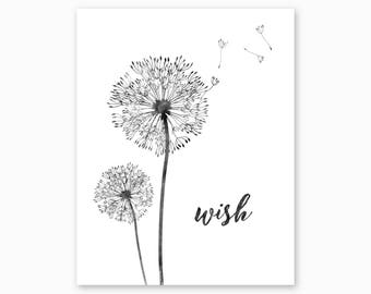DANDELION WALL ART, Dandelion Printable, Nature Lover Gift, Farmhouse Decor, Housewarming Gift, Nursery Printable, Instant Download