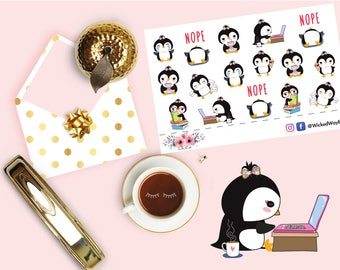Cute Working Penguin Sticker, Penguin Chores Planner Sticker, Cute Kawaii Lazy Day Penguin Sticker, Scrapbook Sticker, Planner Accessory