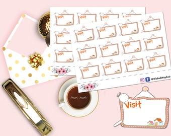Visit Reminder Planner Sticker, Visit Board Sticker, Reminder Stickers, Planning Sticker, Scrapbook Sticker, Planner Accessory - 12 Stickers