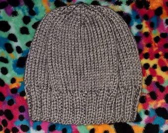 Gray heather knit baby beanie