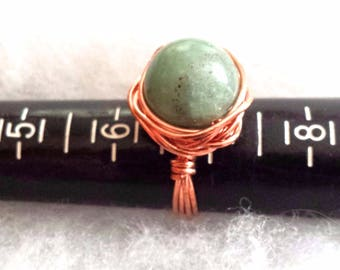 Copper Wire Wrapped Jade stone ring in size 7.25