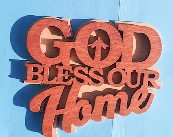 God Bless Our Home handmade wooden wall plaque