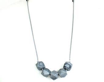 Geo Beads Silicone Teething Necklace Silver