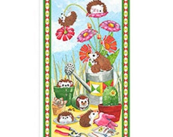 Quilting Treasures Hedgehog Fabric Panel from Who Let the Hedgehogs Out Line - NEW