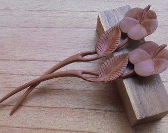 Flower Hair Pin, 1 Prong Wood Hair Sticks, Hair Fork, Hair Accessories HS115