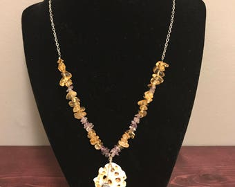 Tan and Purple Beach Necklace