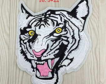 Big White Tiger Head Patch, Embroidered Patch,Animal Embroidered Patch, Iron on Patch,Sew on Patch,Embellishment,6.5 X 8.7 inches