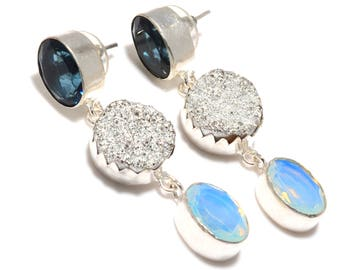 Statement Traditional Druzy Quartz Earring, 925 Silver Stud Earring For Girls and Women Earring, Festival And Party Wear Earring