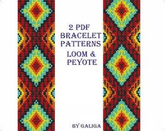 Ethnic bracelet pattern Pdf instant download Loom peyote Beaded bracelet Miyuki delica Jewelry making Seed bead pattern Pdf templates