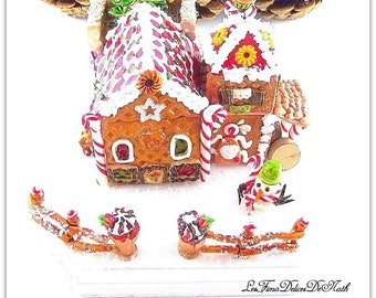 Christmas gingerbread on base cottage wood Hansel and Gretel polymer clay