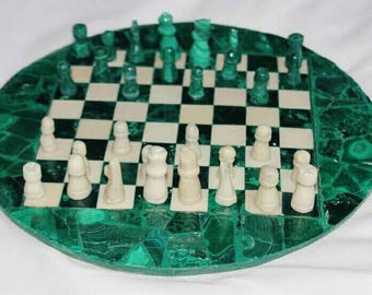 Small Vintage Malachite Chess Board with completed set