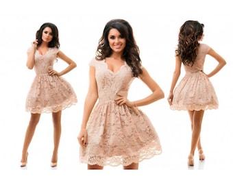 Beige dress,lacy dress, Short dress,Elegant dress, Charming dress , Evening dress,Summer dress,guipure dress,wedding dress, Dresses
