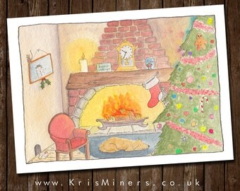 The Night Before Christmas | Whimsical Greetings Card by Kris Miners