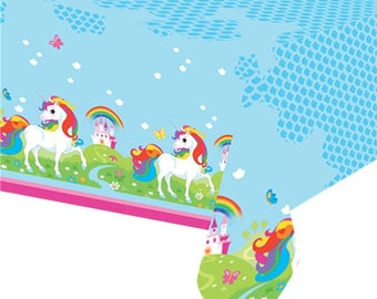 Unicorn Rainbow Table Cover, Table Cloth, Unicorn Party, Rainbow Party, Birthday Table Cover, Rainbow Birthday, Unicorn Birthday