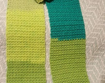 Handmade crochet scarf, winter, green, gift