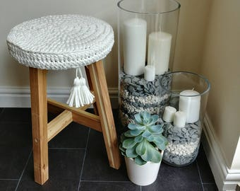 Solid wood stool with crocheted cover, decorated with tassels. Shabbychic stool, rustic stool